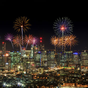 Fireworks over Brisbane City from Mount Coot-tha