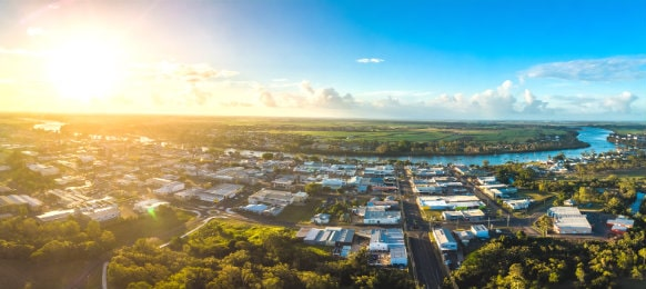 aerial view of bundaberg, queensland