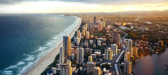 aerial shot of of gold coast city