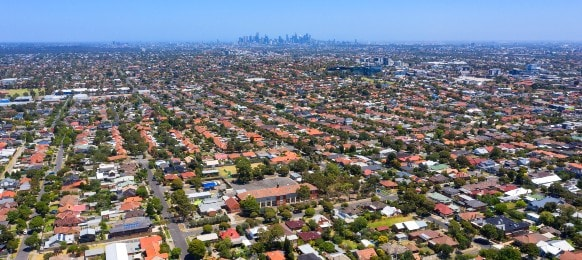 aerial view of houses in the melbourne suburb of preston victoria