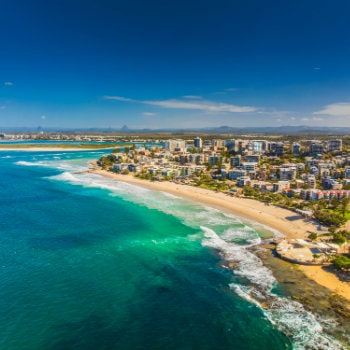 aerial view kings beach in caloundra