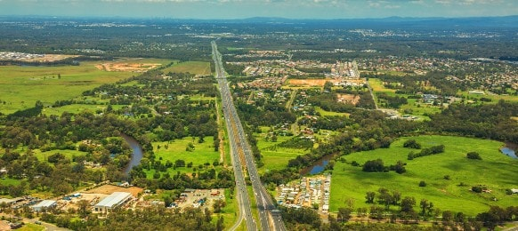 aerial view of caboolture and bruce highway to brisbane