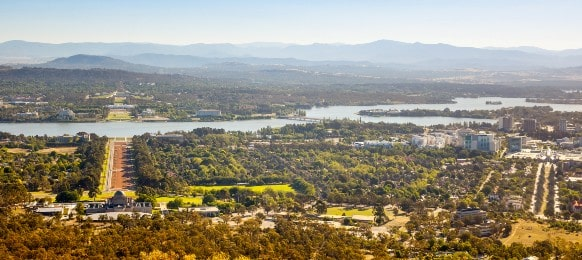 aerial view of capital city of australia canberra