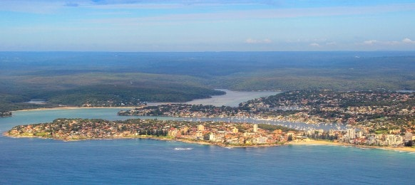 aerial view of cronulla beach and sutherland shire in sydney