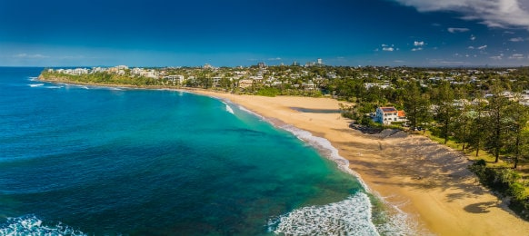 aerial view of dicky beach caloundra, queensland