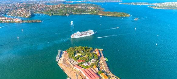aerial view of garden island, sydney