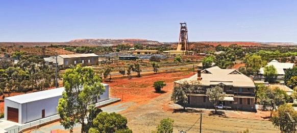 aerial view of kalgoorlie boulders town in western australia