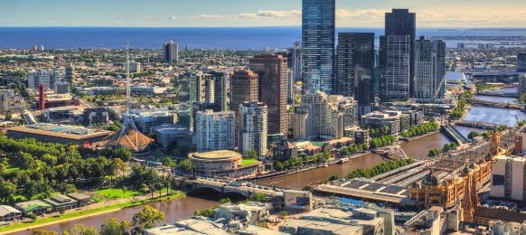 aerial view of melbourne city centre in the morning