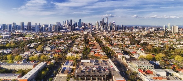 aerial view of melbourne city from port melbourne