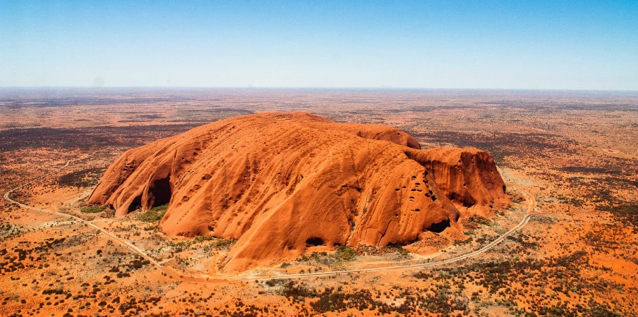 aerial view of uluru or ayers rock
