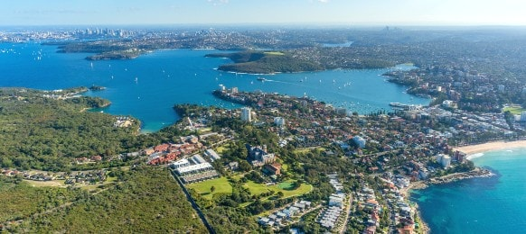 aerial view of sydney suburb, manly with beaches