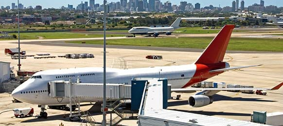 airplanes parked at the sydney airport terminal