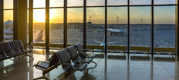 airport lounge and passenger planes