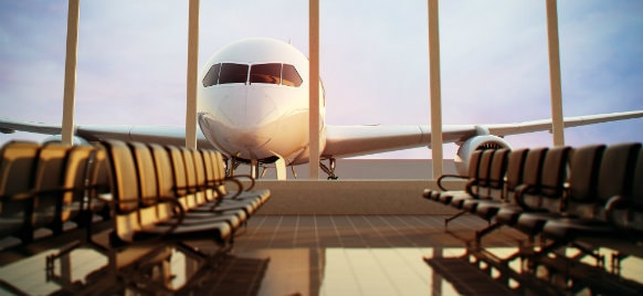view of airplane from the terminal lobby