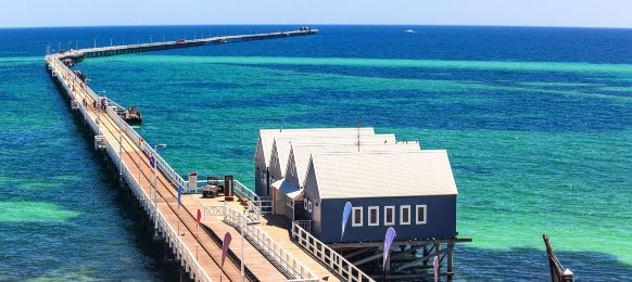 an aerial view of busselton jetty, western australia