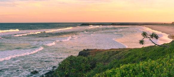 ballina beach sunset at byron bay