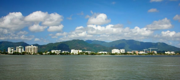 view of Cairns across the sea