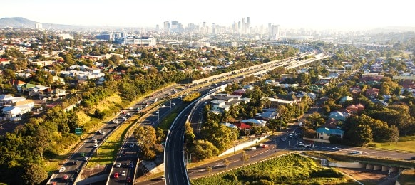 brisbane city rush hour in the morning