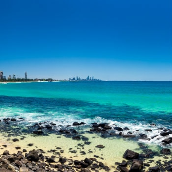 View of skyline from Burleigh Heads Beach