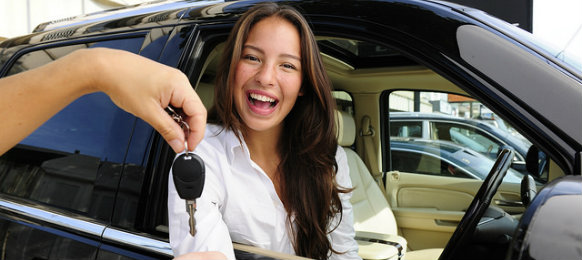 businesswoman getting car key
