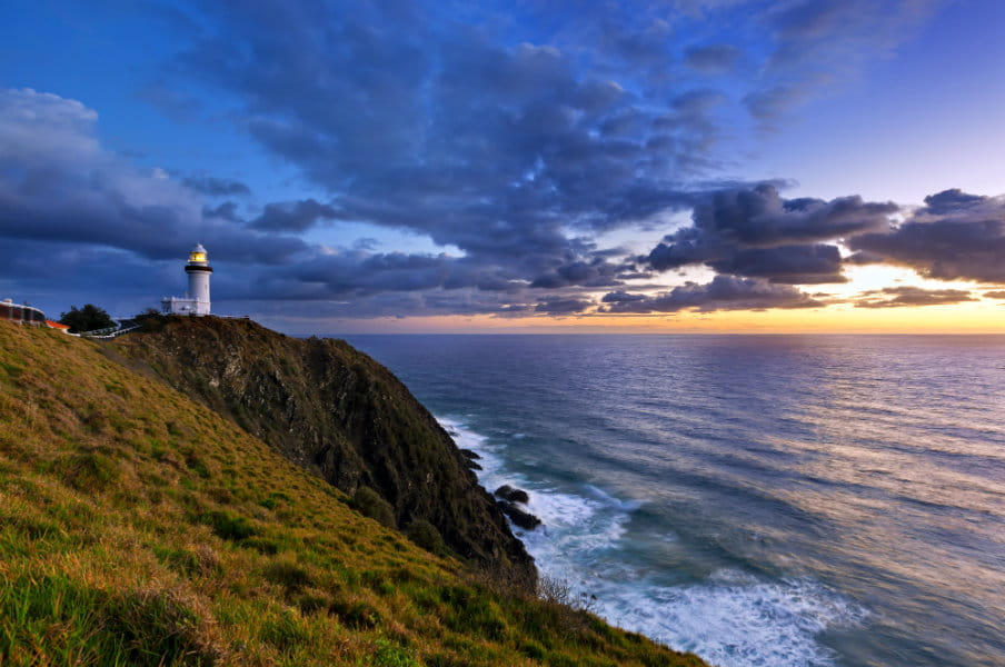 Byron Bay lighthouse during sunrise in AU
