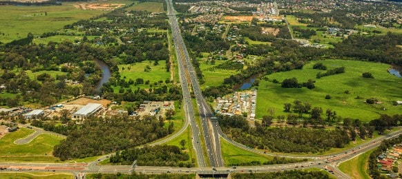 caboolture and bruce highway aerial view in queensland