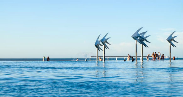 Esplanade fish sculptures at the swimming lagoon in Cairns
