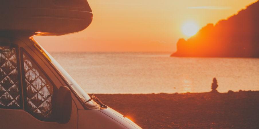 campervan parked at sunrise