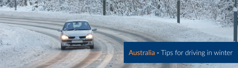 Driving a car on the road during winter in Australia