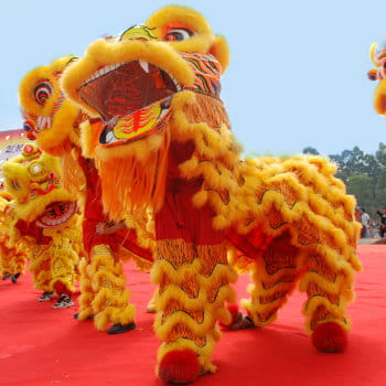 Chinese playing lion dance for New Year