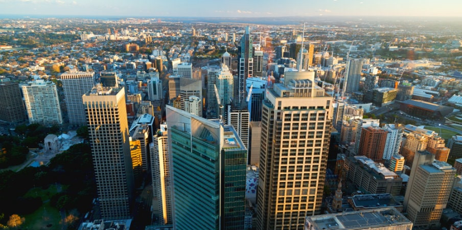 city of sydney from sydney tower eye