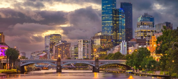 cityscape of melbourne in summer sunset