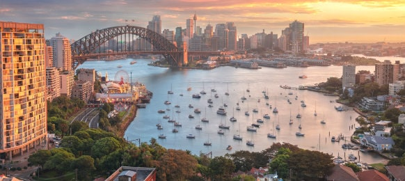 cityscape of sydney australia during sunset