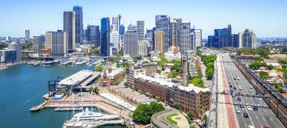 cityscape sydney from harbour bridge
