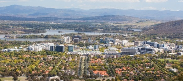 cityscape view over canberra cbd