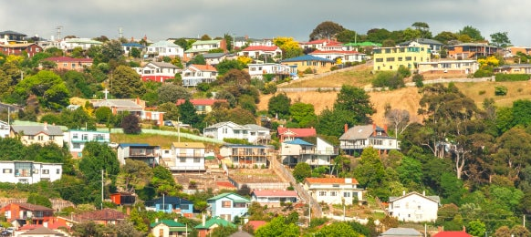 colourful houses in burnie town, tasmania