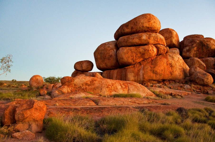 devils marble in the australian outback in northern territory