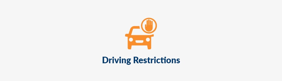 Driving restrictions in AU guide banner
