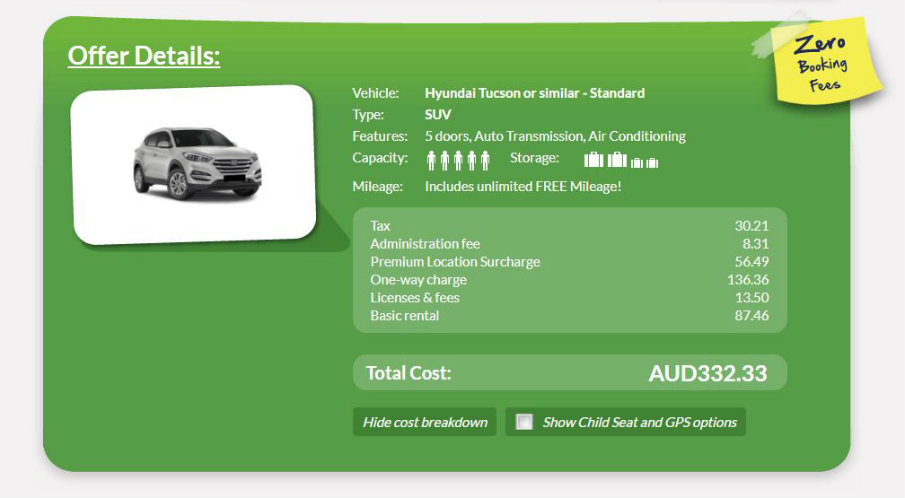 Europcar cost breakdown screenshot sample