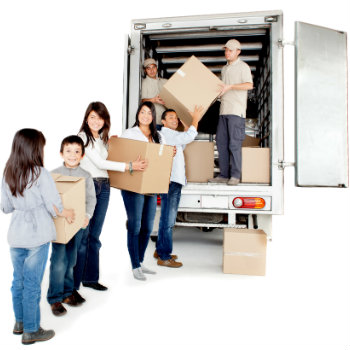 family taking boxes into a moving truck rental