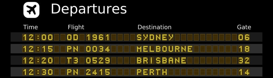 Flight numbers and schedule of departures