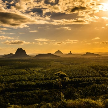 glass house mountains at sunset