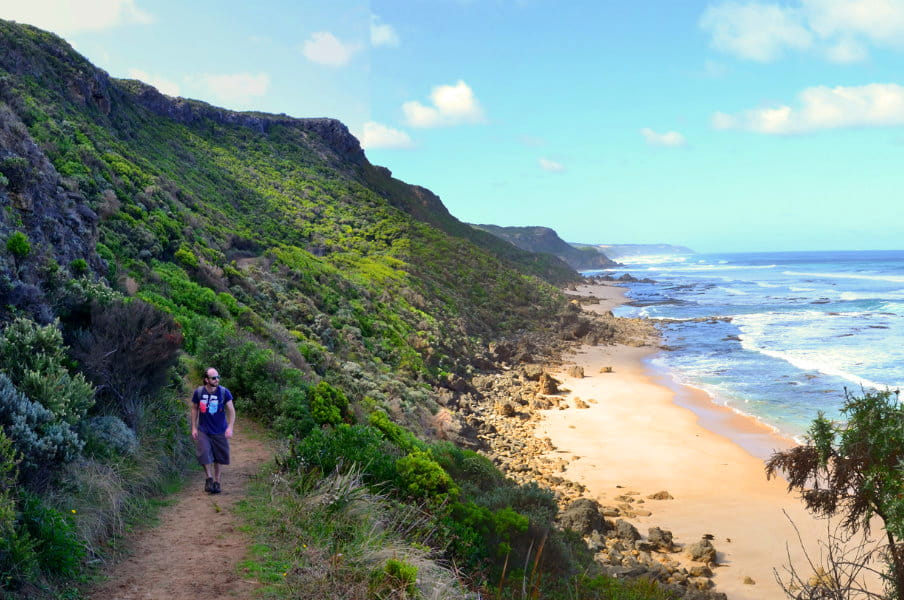Neil walking the base of escarpment at The Great Ocean Road