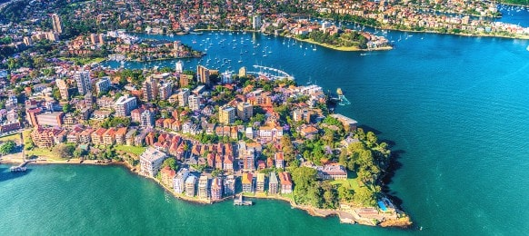 helicopter view of kirribilli in sydney new south wales