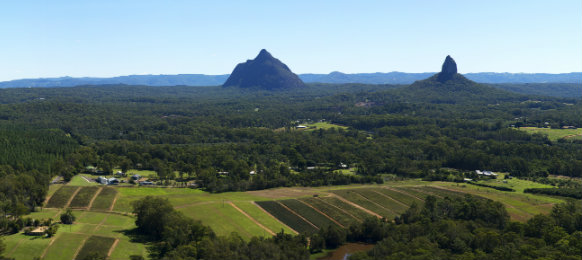 Hills and pasture of the Sunshine Coast hinterland