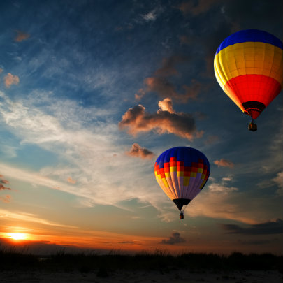 hot air balloon in a sunset