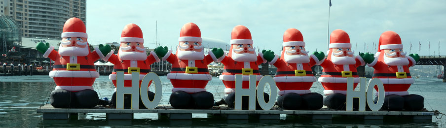 inflatable Santa Clauses in Darling Harbour, Sydney