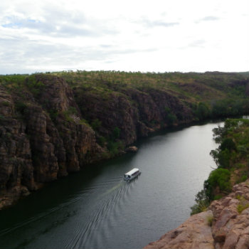 Boat cruising through Katherine Gorge