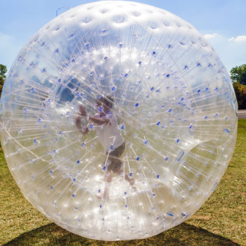 kid enjoying zorbing