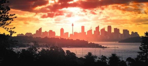 landscape view sydney australia sunset